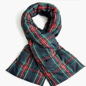 J. Crew tartan puffer scarf